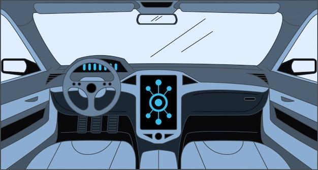 Samochodowa Wewnętrzna Kreskówka Konturu Ilustracja. Wnętrze Samochodu, Design Wewnątrz Koncepcji Samochodu. Premium Wektorów