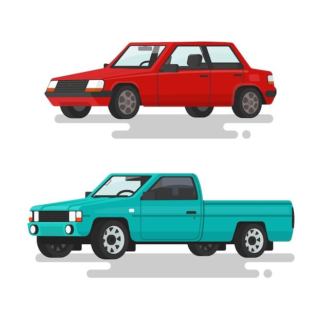 Samochodowy Sedan I Furgonetka Na Białej Tło Ilustraci Premium Wektorów