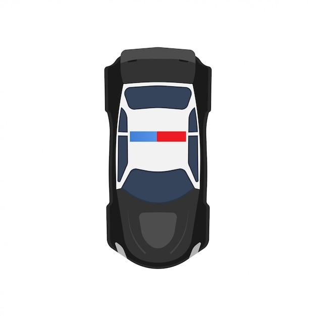 Samochodu Policyjnego Odgórnego Widoku Ikony Pojazdu Ilustracja. Czarno-biały Policjant Patrolu Transportu Premium Wektorów