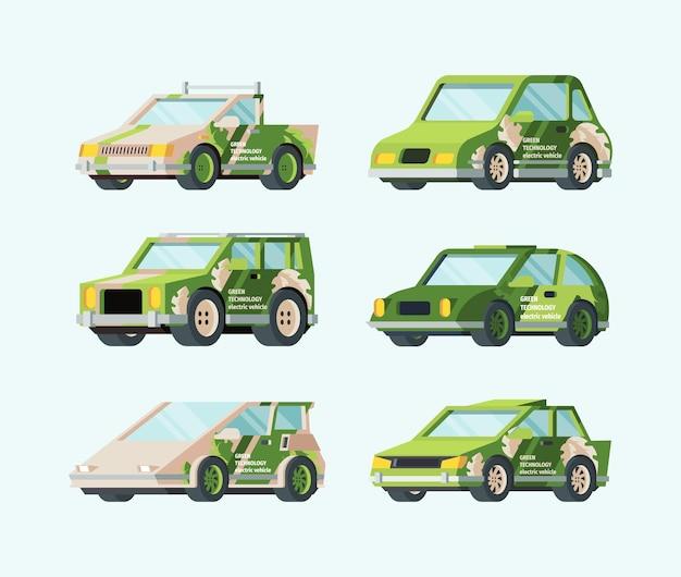 Samochody Elektryczne Przyszłości Zestawu. Stylowy Zielony Design Ekologiczny Transport Nowoczesny Futurystyczny Samochód Rama Bezpieczna Energia Alternatywna Odnawialne źródła Energii Troska O środowisko. Premium Wektorów