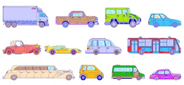 Samochody I Pojazdy, Ilustracja Linii, Nowoczesny I Retro Styl Auto Transport Na Białym Tle, Styl Sztuki Linii. Premium Wektorów