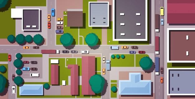 Samochody Jazdy Ulicami Miasta Drogi Z Budynków Widok Z Góry Kąt Poziomy Premium Wektorów