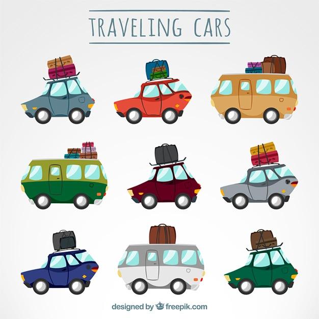 Samochody Podróżujące Spakować Darmowych Wektorów