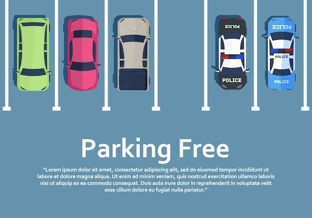 Samochody Stoją Na Parkingu Widok Z Góry. Premium Wektorów