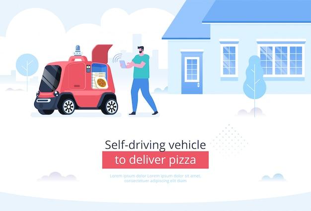 Samodzielny pojazd do dostarczania pizzy w tle Premium Wektorów