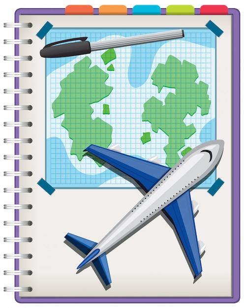 Samolot I Pióro Na Notebooku Na Białym Tle Premium Wektorów