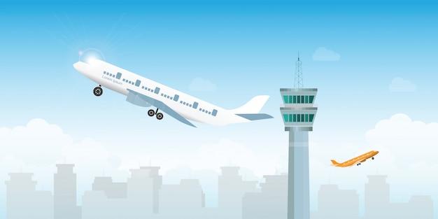 Samolot startujący z lotniska z wieżą kontrolną Premium Wektorów