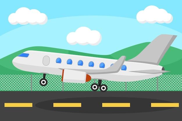 Samolot Startuje Z Terenu Na Tle Przyrody. Premium Wektorów