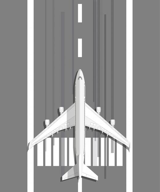Samolot Stojący Na Pasie Do Lądowania Premium Wektorów