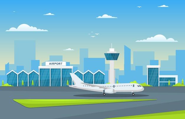Samolot W Pas Startowy Terminalu Lotniska Budynku Krajobrazu Linii Horyzontu Ilustraci Premium Wektorów