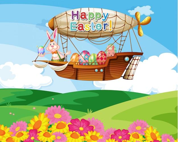 Samolot Z Wielkanocnym Powitaniem Niosący Kolorowe Jajka Darmowych Wektorów