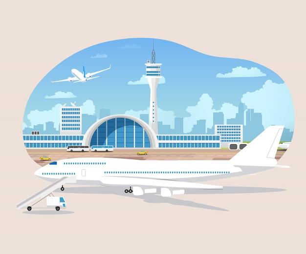 Samoloty czekają i startują w lotniskowym wektorze Premium Wektorów