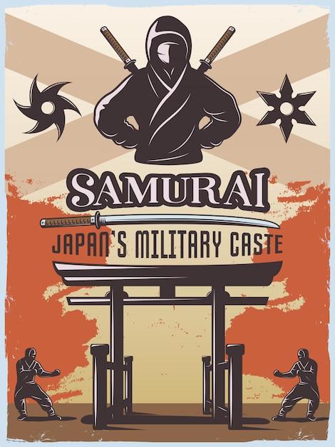 Samurajski Plakat Wojskowy Darmowych Wektorów