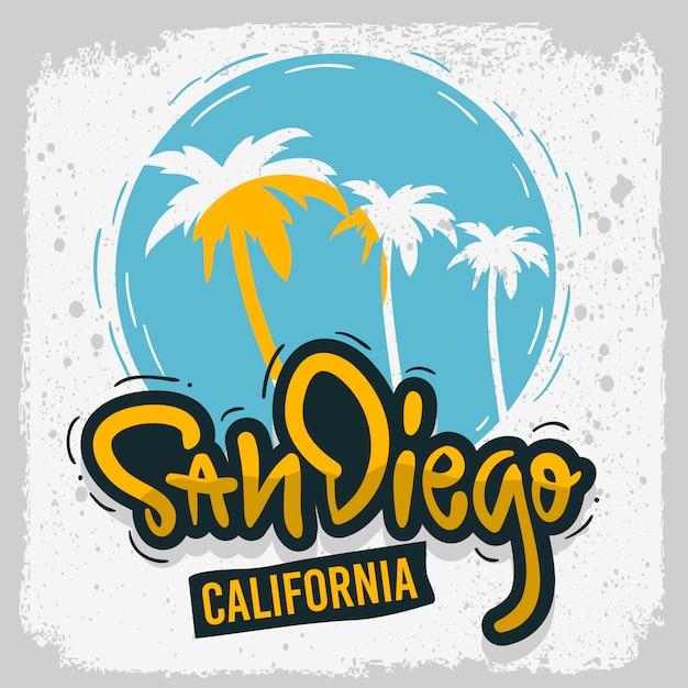 San Diego California Surfing Surf Design Ręcznie Rysowane Napis Typ Logo Znak Etykieta Dla Promocji Reklamy Koszulka Lub Naklejka Obraz Plakatu Premium Wektorów