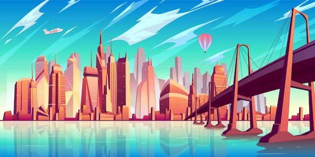 San Francisco Bay Cartoon Krajobraz Z Mostem Wiszącym Nad Wodą Darmowych Wektorów