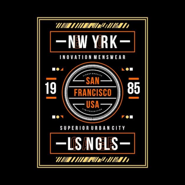 San Francisco Typografia Graficzna Odzież Miejska Premium Wektorów