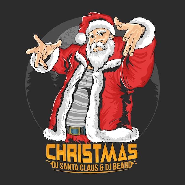 Santa claus raper hip hop boże narodzenie ilustracja wektor Premium Wektorów