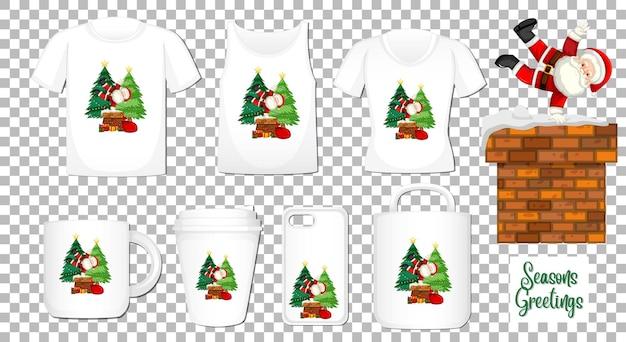 Santa Claus Taniec Postać Z Kreskówki Z Zestawem Różnych Produktów Odzieżowych I Akcesoriów Na Przezroczystym Tle Darmowych Wektorów
