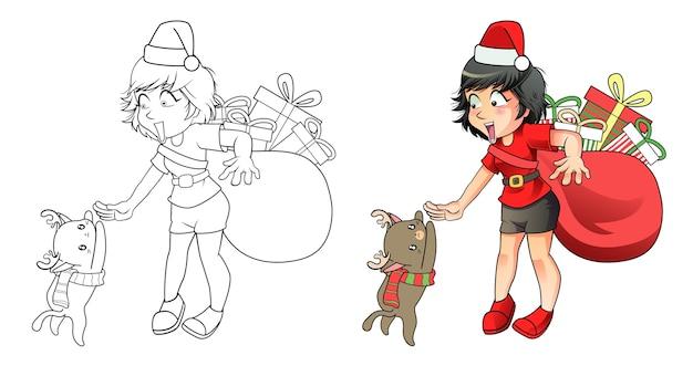 Santa Dziewczyna I Renifer Kot Kreskówka łatwo Kolorowanki Dla Dzieci Premium Wektorów