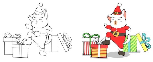 Santa Kot I Prezenty Kreskówka łatwo Kolorowanka Dla Dzieci Premium Wektorów