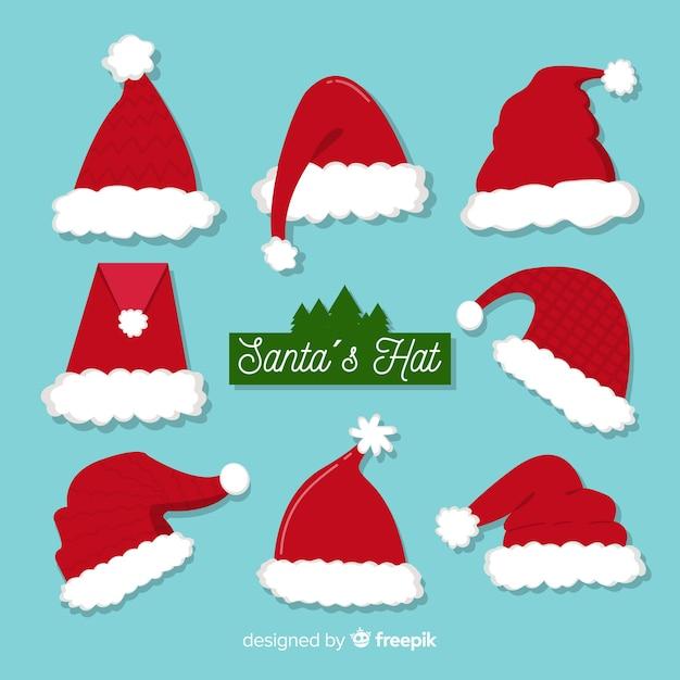 Santa's hat boże narodzenie kolekcja w płaskiej konstrukcji Darmowych Wektorów