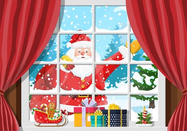 Santa W Oknie Pokoju Z Choinką I Prezentami Premium Wektorów