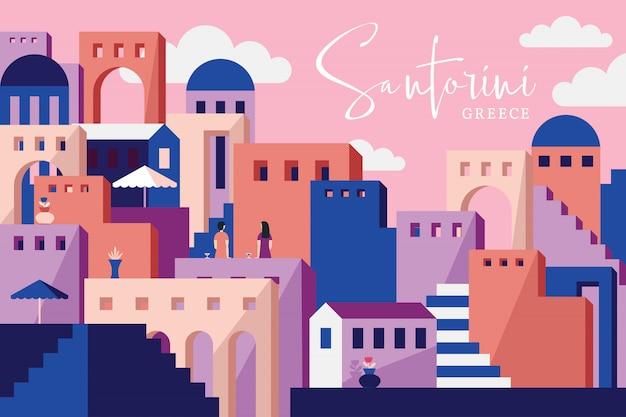 Santorini wektorowa ilustracja Premium Wektorów