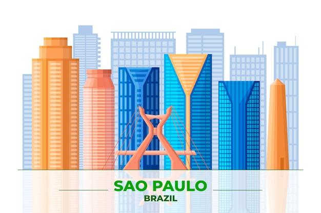Sao Paulo I Widok Z Przodu Różnych Budynków Darmowych Wektorów