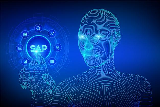 Sap oprogramowanie do automatyzacji procesów biznesowych na ekranie wirtualnym. wireframed cyborg ręka dotykając interfejs cyfrowy. Premium Wektorów