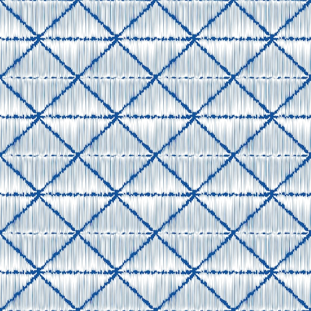Sashiko bezbarwny wzór indygo z tradycyjnym białym japońskim haftem Premium Wektorów