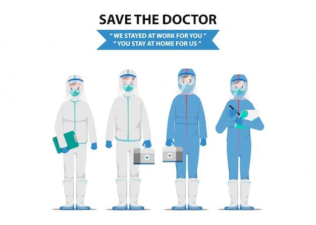 Save Doctor, Który Ratuje Pacjentów Przed Wybuchem Koronawirusa I Zwalczaniem Koronawirusa. Premium Wektorów