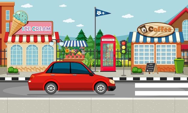 Scena Boczna Ulicy Z Lodziarnią I Kawiarnią Oraz Czerwonym Samochodem Na Scenie Ulicznej Premium Wektorów