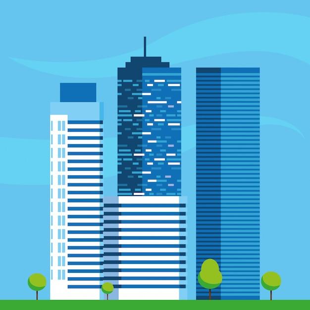 Scena Budowy Budynków Miasta Premium Wektorów