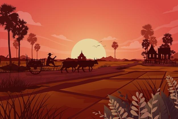 Scena Charakter Rolniczych Użytków Zielonych Rolniczych, Abtract Sylwetka Azjatyckich Rolników Pracujących W Polu Ryżowym, Ilustracji Darmowych Wektorów