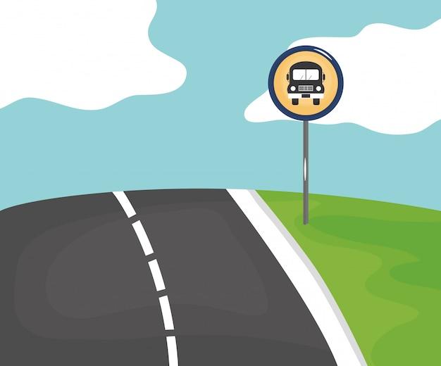 Scena drogowa z sygnałem przystanku autobusowego Darmowych Wektorów