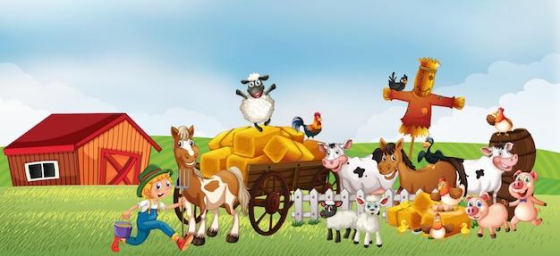Scena Farmy W Przyrodzie Z Pojazdu Stodoły I Koni I Zwierząt Gospodarskich Darmowych Wektorów