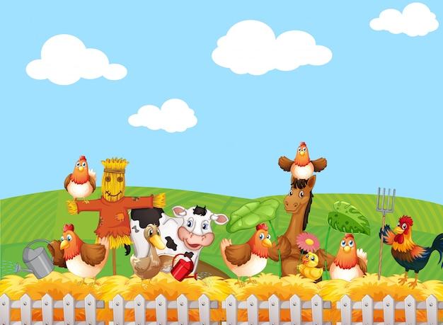 Scena Farmy Ze Stylem Kreskówki Farmy Zwierząt Darmowych Wektorów