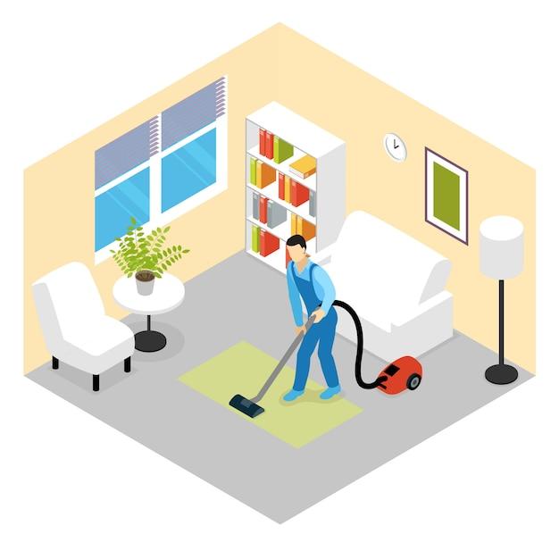 Scena Izometryczna Usługi Sprzątania Darmowych Wektorów