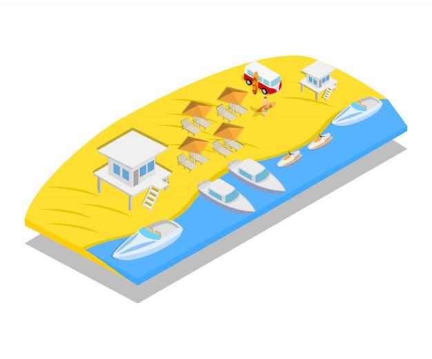 Scena Koncepcja Plaży Premium Wektorów