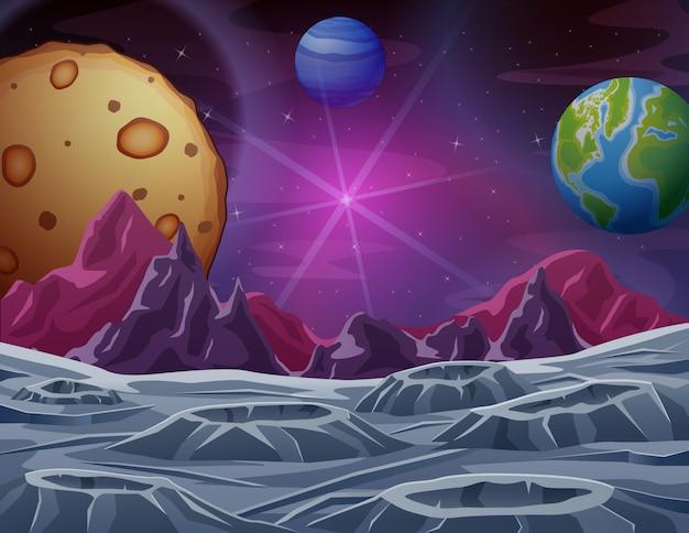Scena kosmiczna z wieloma planetami ilustracyjnymi Premium Wektorów