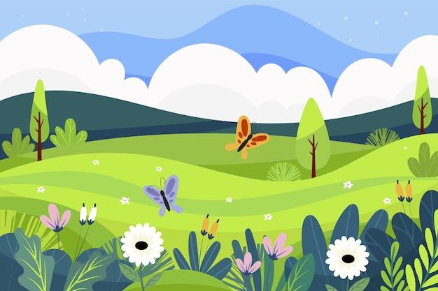 Scena Krajobraz Wiosna Premium Wektorów