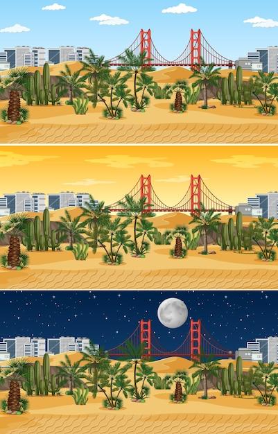 Scena Krajobrazowa Pustyni O Różnych Porach Dnia Darmowych Wektorów