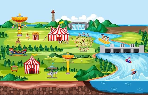 Scena Krajobrazowego Parku Rozrywki I Wiele Przejażdżek Ze Szczęśliwymi Dziećmi Darmowych Wektorów