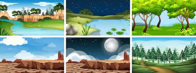 Scena Krajobrazu Naturalnego środowiska Darmowych Wektorów