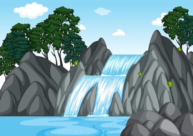 Scena Leśna Z Wodospadem Darmowych Wektorów