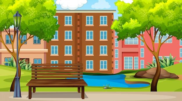 Scena miejskiego parku Darmowych Wektorów
