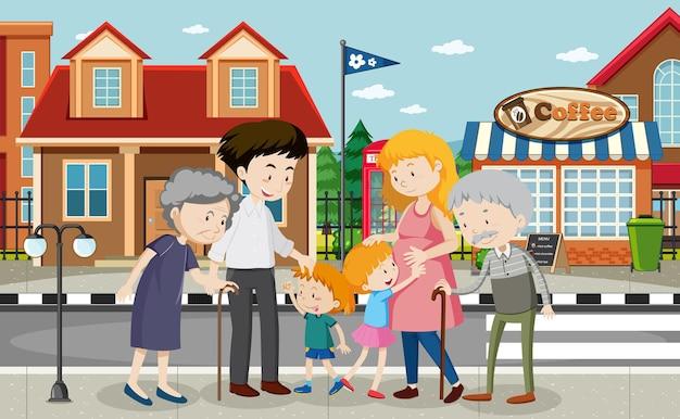 Scena Na świeżym Powietrzu Z Członkiem Rodziny Darmowych Wektorów