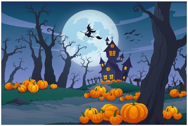 Scena Nocna W Noc Halloween Jest Taka Piękna. Premium Wektorów