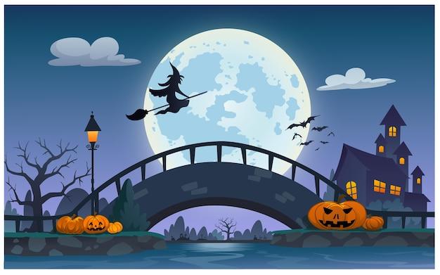 Scena Nocna W Noc Halloween Premium Wektorów