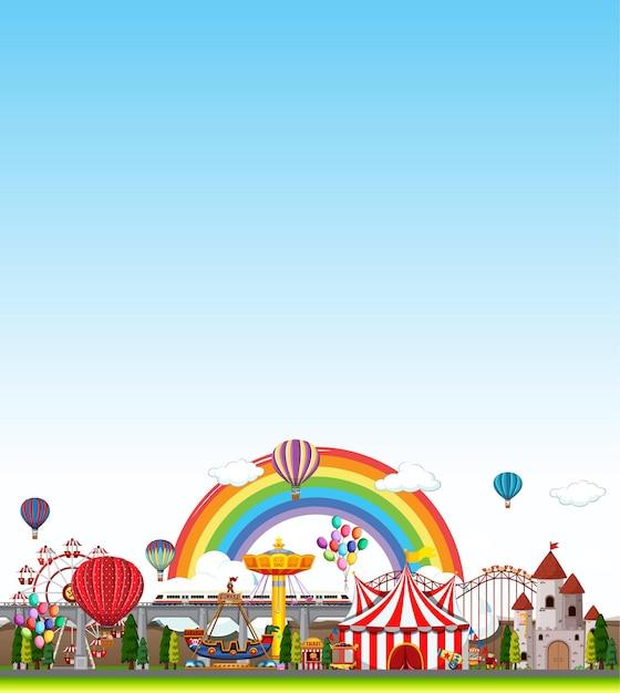 Scena Parku Rozrywki W Ciągu Dnia Z Pustym Jasnym Błękitnym Niebem Darmowych Wektorów